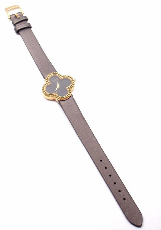 Van Cleef & Arpels Black Dial Vintage Alhambra Yellow Gold Ladies Watch For Sale 2