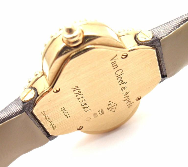 Van Cleef & Arpels Black Dial Vintage Alhambra Yellow Gold Ladies Watch In As new Condition For Sale In Southampton, PA