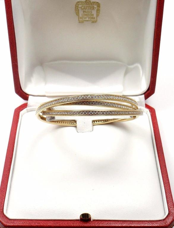 Cartier Trinity Diamond Gold Bangle Bracelet For Sale 3