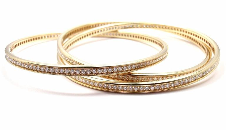 Women's or Men's Cartier Trinity Diamond Gold Bangle Bracelet For Sale