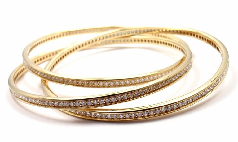 Cartier Trinity Diamond Gold Bangle Bracelet In New Condition For Sale In Southampton, PA