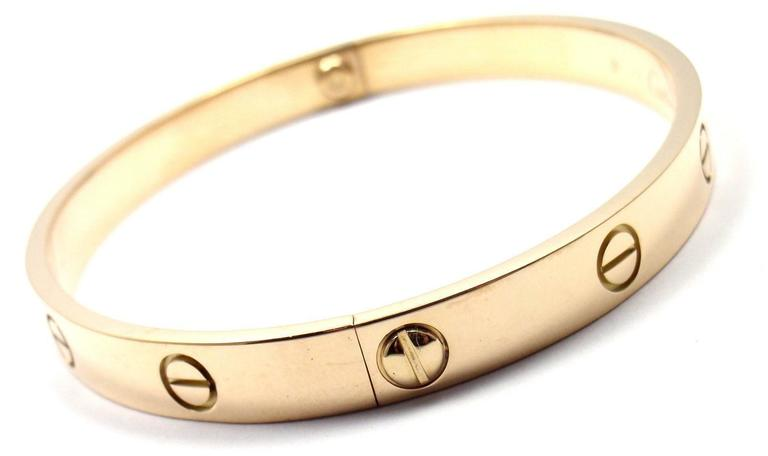 Women's or Men's Cartier Love Yellow Gold Bangle Bracelet For Sale
