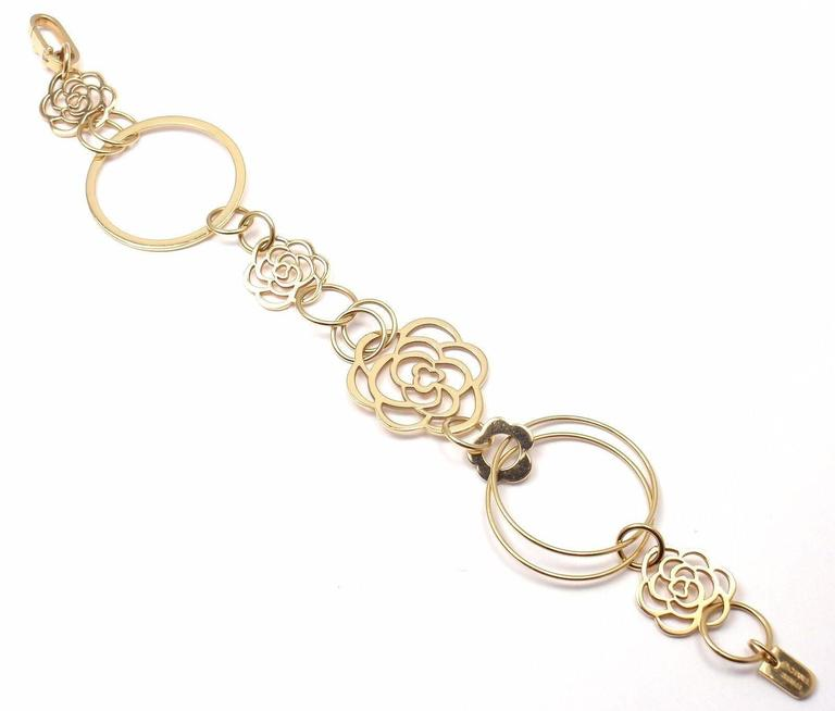Chanel Camélia Camellia Sautoir Flower Link Yellow Gold Bracelet 5