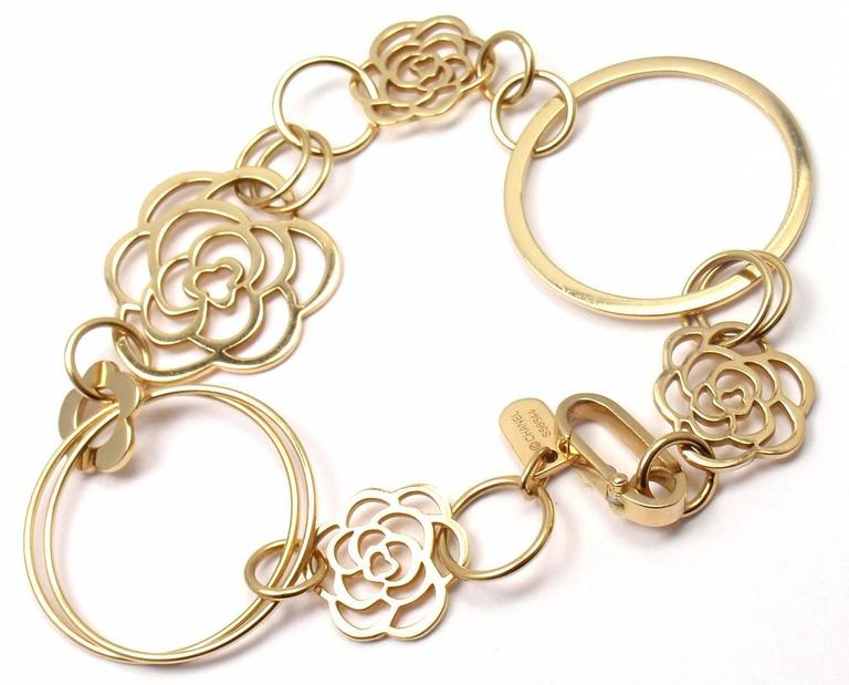 18k Yellow Gold Camelia Camellia Flower Link Bracelet by Chanel. 