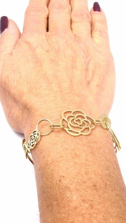 Chanel Camélia Camellia Sautoir Flower Link Yellow Gold Bracelet 6