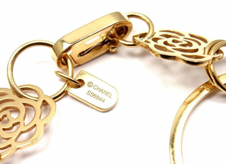 Chanel Camélia Camellia Sautoir Flower Link Yellow Gold Bracelet 7