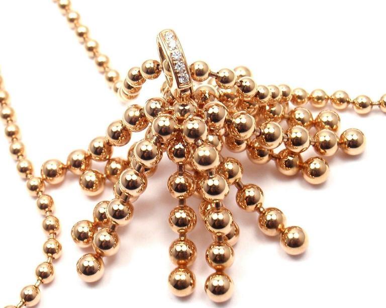 Round Cut Cartier Paris Nouvelle Vague Diamond Rose Gold Pendant Necklace For Sale