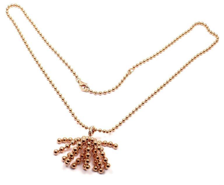 Women's or Men's Cartier Paris Nouvelle Vague Diamond Rose Gold Pendant Necklace For Sale