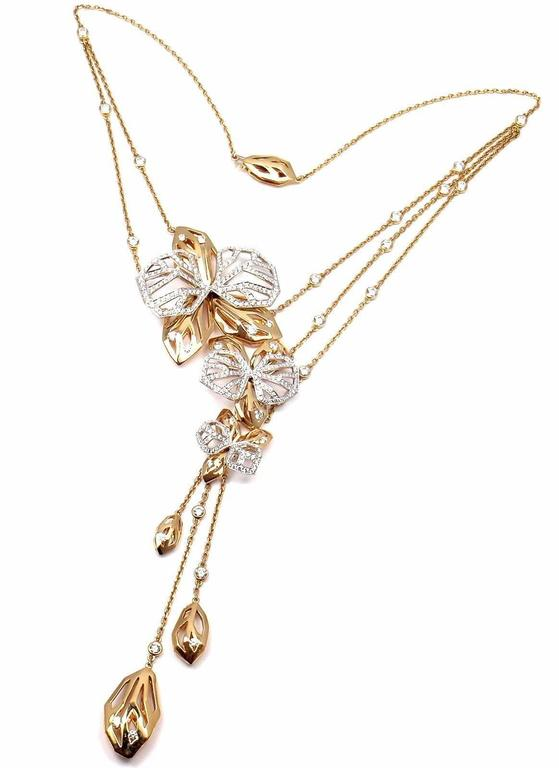 Cartier caresse dorchidees orchid flower diamond two color gold 18k white and yellow gold diamond caresse dorchides orchid flower necklace by cartier aloadofball Choice Image