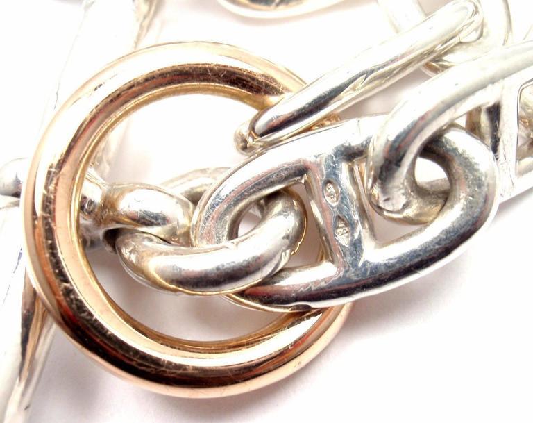 Hermes Chaine d'Ancre Sterling Silver Gold Link Bracelet For Sale 3