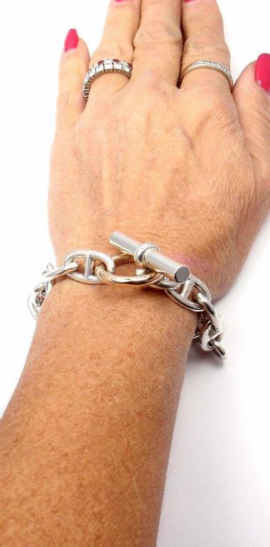 Hermes Chaine d'Ancre Sterling Silver Gold Link Bracelet For Sale 6