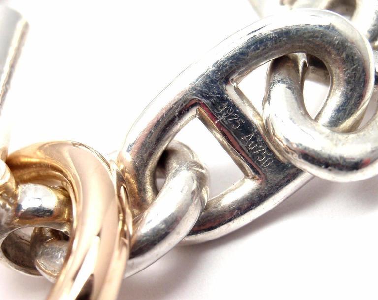 Hermes Chaine d'Ancre Sterling Silver Gold Link Bracelet For Sale 5