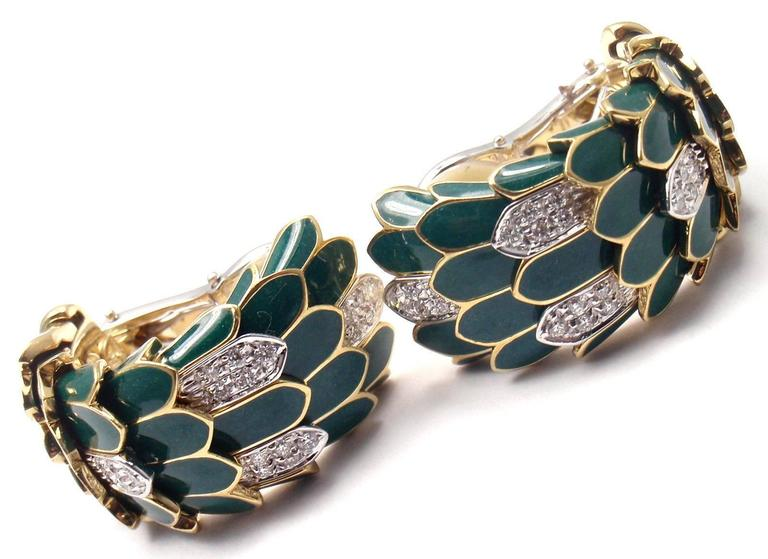 Roberto Coin Cobra Animelier Green Enamel Diamond Rose Gold Earrings 3