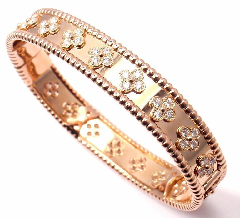 Van Cleef & Arpels Perlee Diamond Clover Rose Gold Bangle Bracelet 2