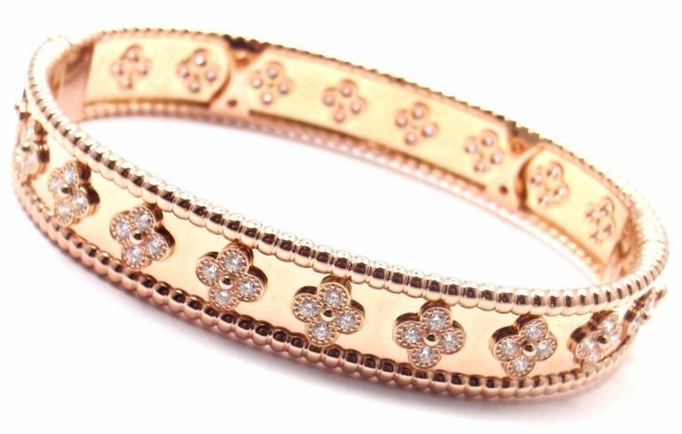 Van Cleef & Arpels Perlee Diamond Clover Rose Gold Bangle Bracelet 4