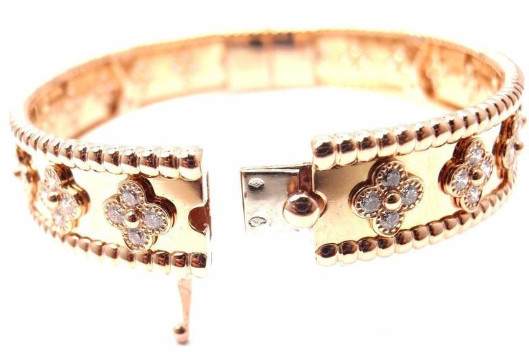 Van Cleef & Arpels Perlee Diamond Clover Rose Gold Bangle Bracelet 3
