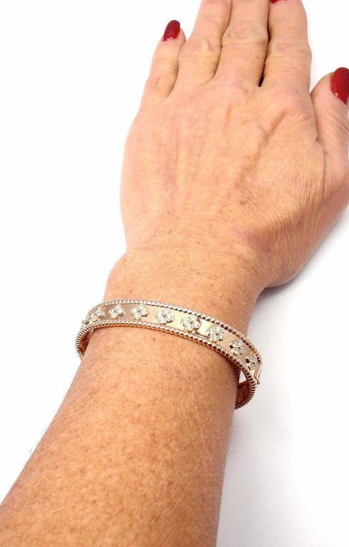 Van Cleef & Arpels Perlee Diamond Clover Rose Gold Bangle Bracelet 5