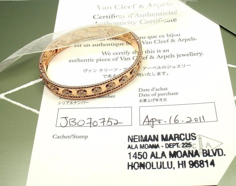 Women's or Men's Van Cleef & Arpels Perlee Diamond Clover Rose Gold Bangle Bracelet