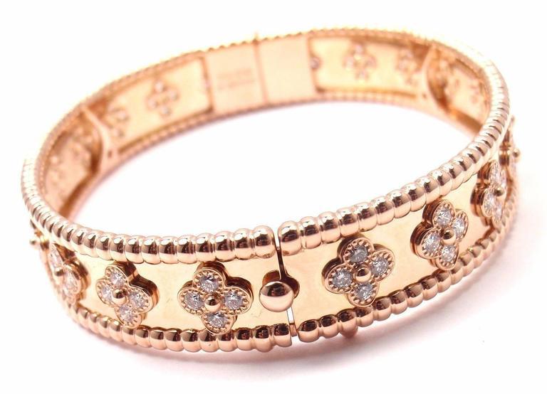 Van Cleef & Arpels Perlee Diamond Clover Rose Gold Bangle Bracelet 6