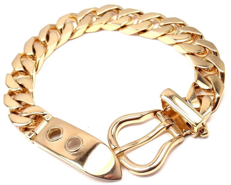 c9541c55288c6 Hermes Large Buckle Gold Curb Link Chain Bracelet