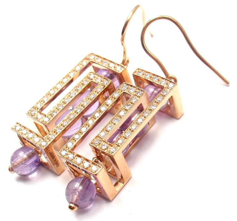 18k Rose Gold Fedra Diamond And Amethyst Earrings By Versace With 76 Round Brilliant Cut