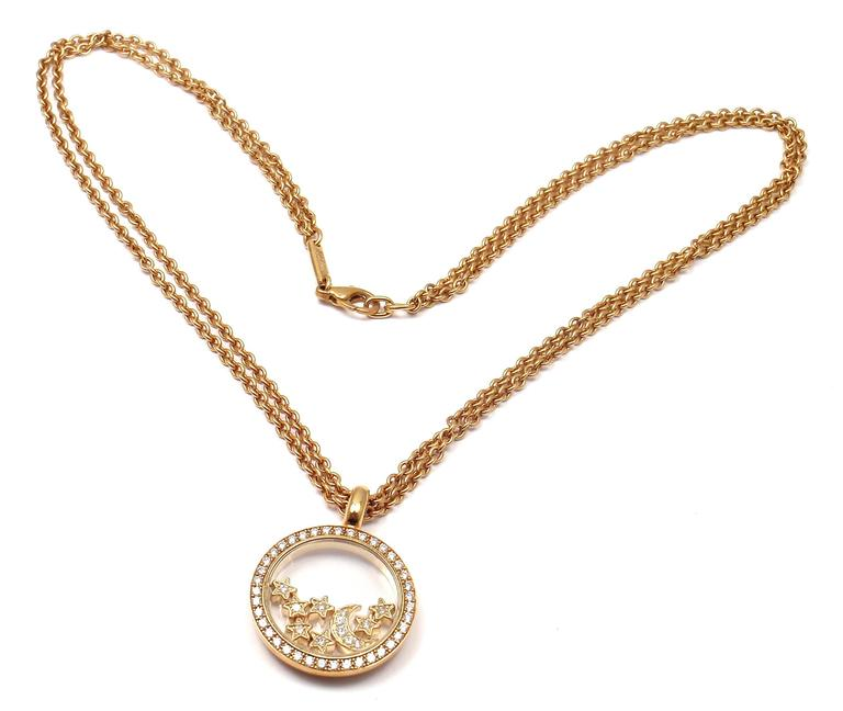 Chopard Happy Diamond Stars Moon Gold Pendant Necklace In New Condition In Holland, PA