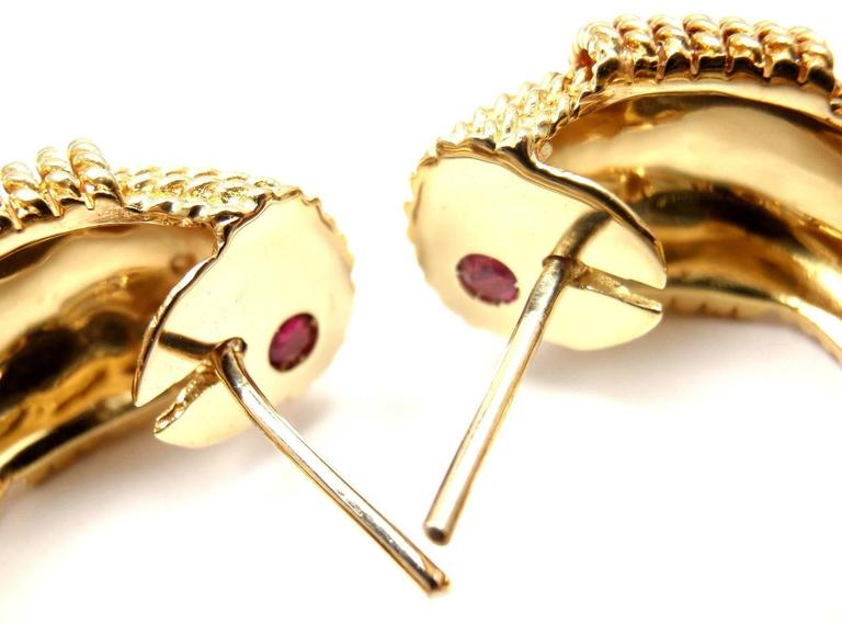Roberto Coin Ruby Yellow Gold Hoop Earrings For Sale 1