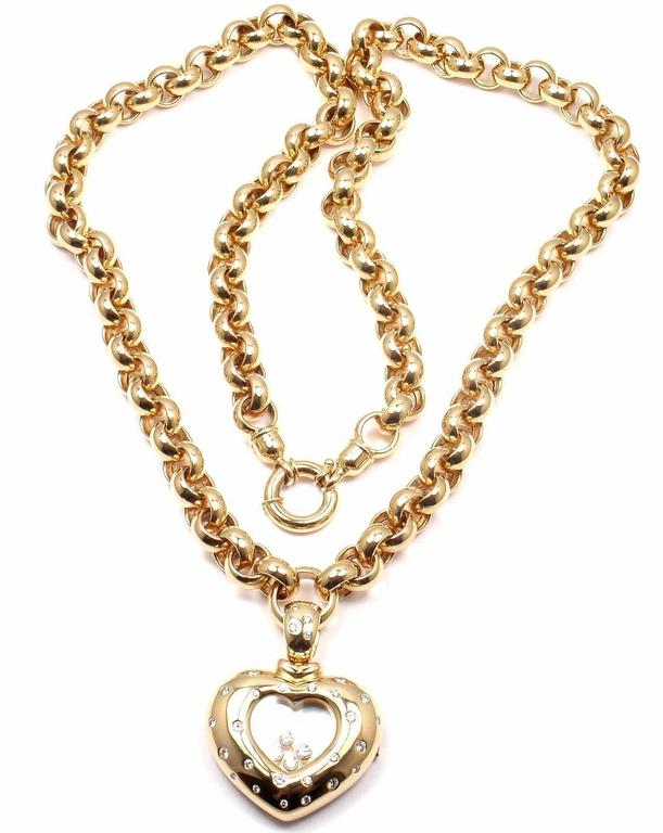 Chopard happy diamond yellow gold heart shape watch pendant necklace chopard happy diamond yellow gold heart shape watch pendant necklace in as new condition for sale mozeypictures