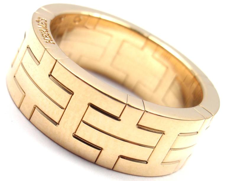 874b1161bf35c Hermes H Motif Wide Yellow Gold Band Ring