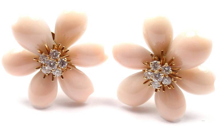 Van Cleef & Arpels Rose de Noel Diamond Angel Skin Coral Yellow Gold Earrings For Sale 4
