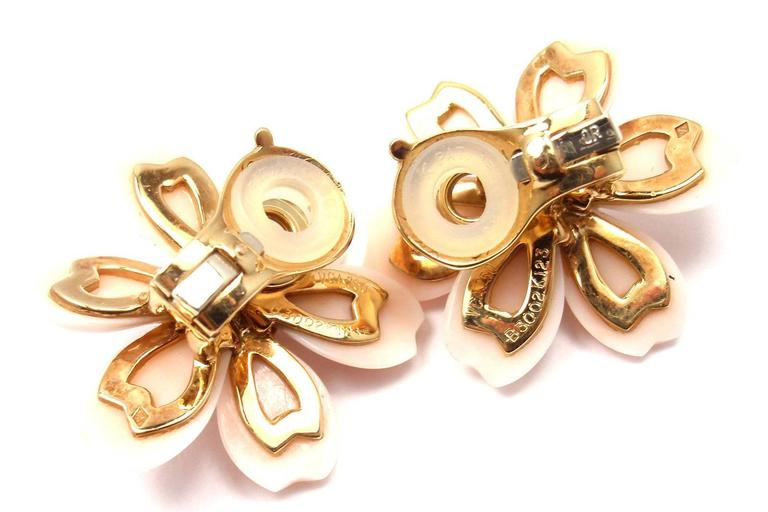 Van Cleef & Arpels Rose de Noel Diamond Angel Skin Coral Yellow Gold Earrings 4