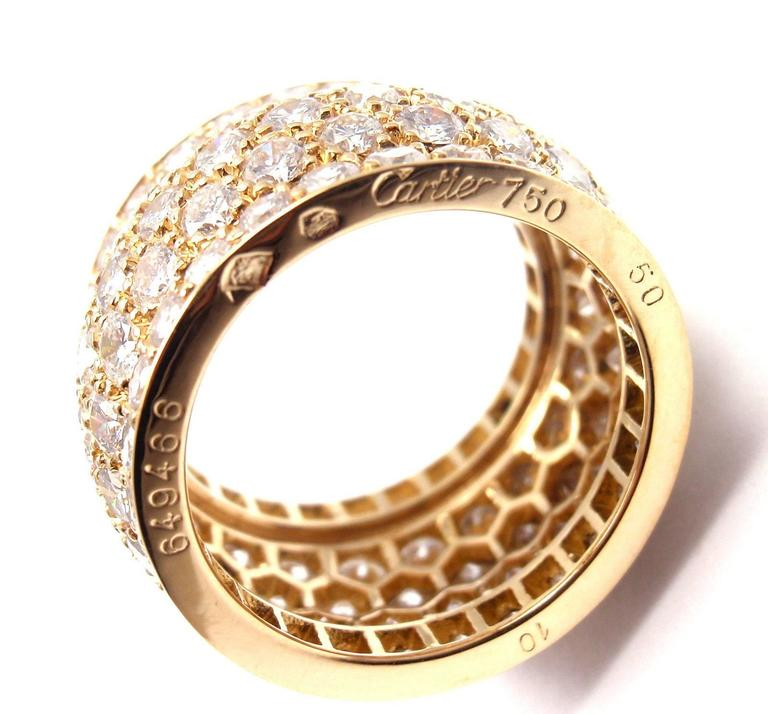 Cartier Nigeria Diamond Wide Yellow Gold Band Ring For Sale 1