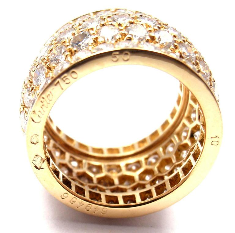 Cartier Nigeria Diamond Wide Yellow Gold Band Ring For Sale 3