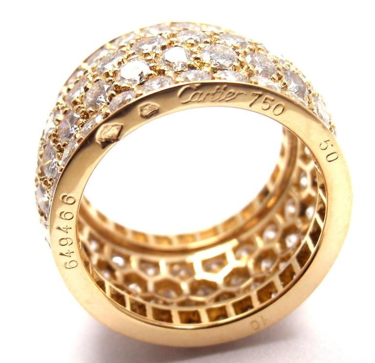 Cartier Nigeria Diamond Wide Yellow Gold Band Ring For Sale 2