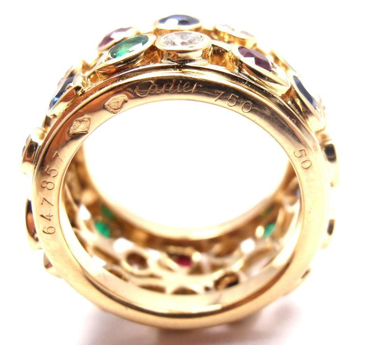 Cartier Diamond Sapphire Emerald Ruby Wide Yellow Gold Band Ring In As New Condition For Sale In Southampton, PA