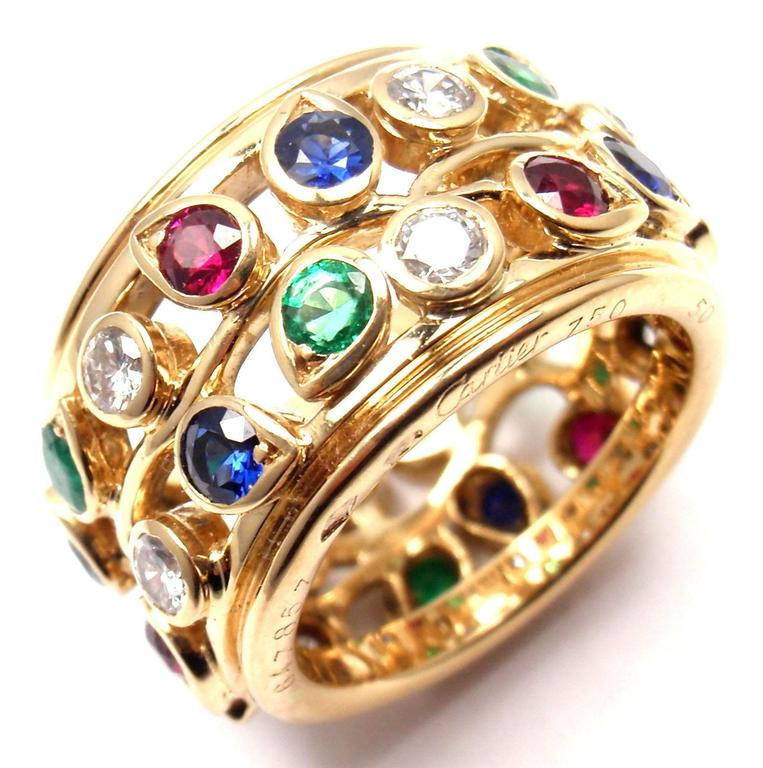 Cartier Diamond Sapphire Emerald Ruby Wide Yellow Gold Band Ring For Sale 4