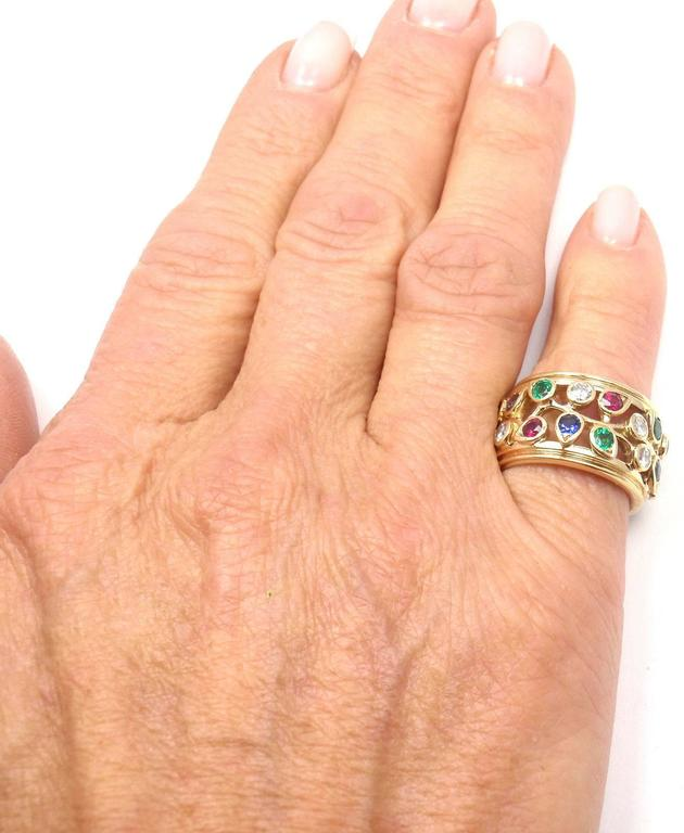 Cartier Diamond Sapphire Emerald Ruby Wide Yellow Gold Band Ring For Sale 3