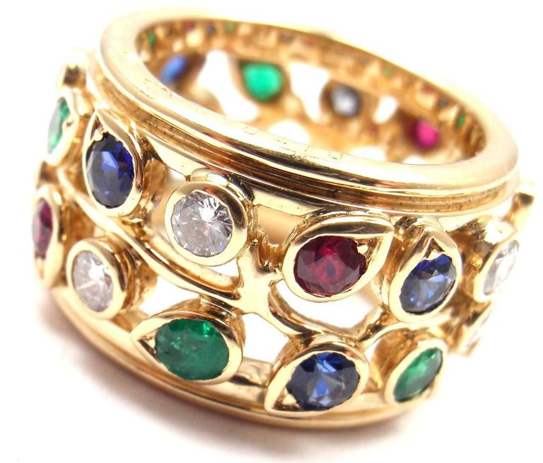 Women's or Men's Cartier Diamond Sapphire Emerald Ruby Wide Yellow Gold Band Ring For Sale