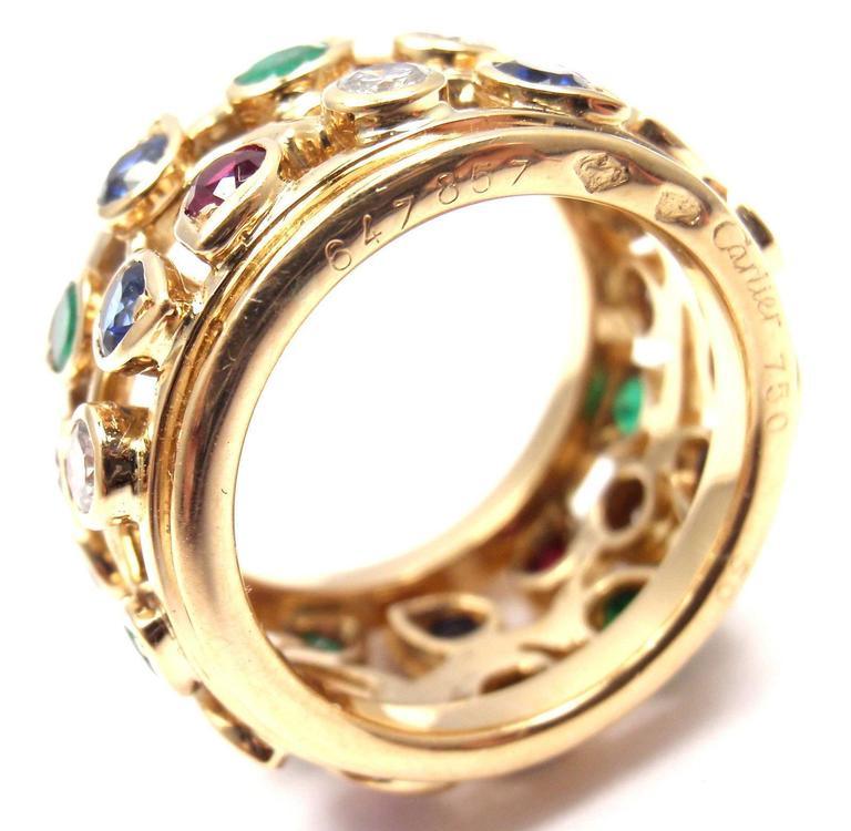 Cartier Diamond Sapphire Emerald Ruby Wide Yellow Gold Band Ring For Sale 1