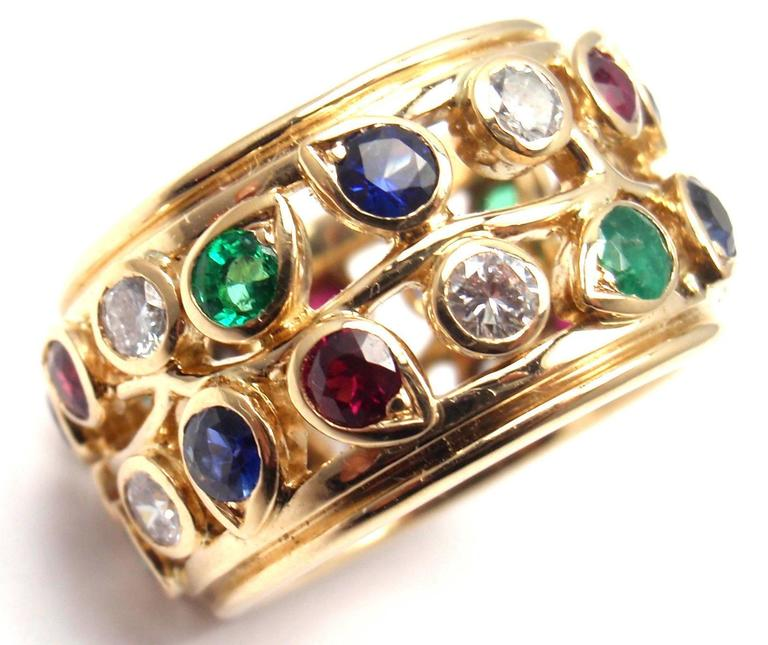 Cartier Diamond Sapphire Emerald Ruby Wide Yellow Gold Band Ring For Sale 2
