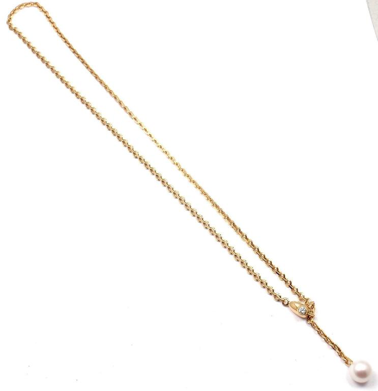 Cartier Diamond Pearl Lariat Link Yellow Gold Necklace 5