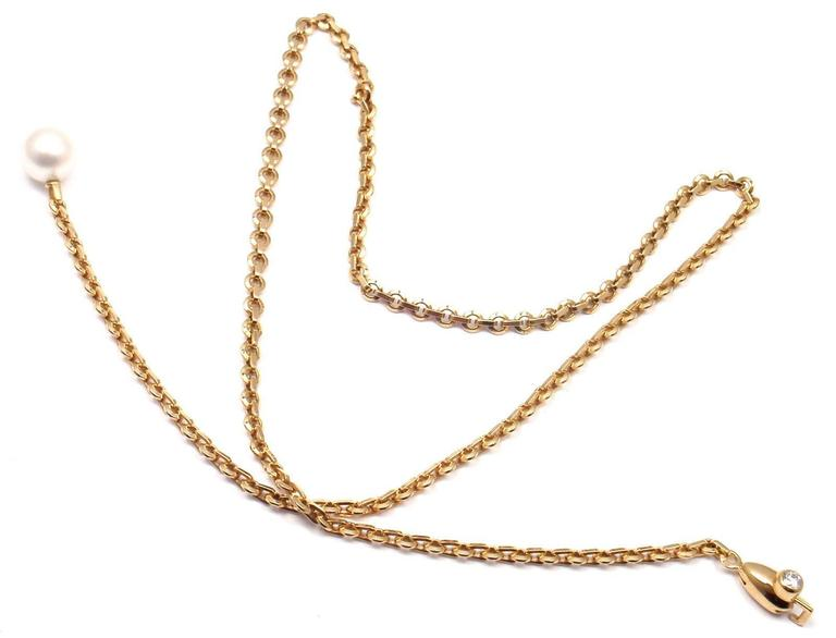 Cartier Diamond Pearl Lariat Link Yellow Gold Necklace 4