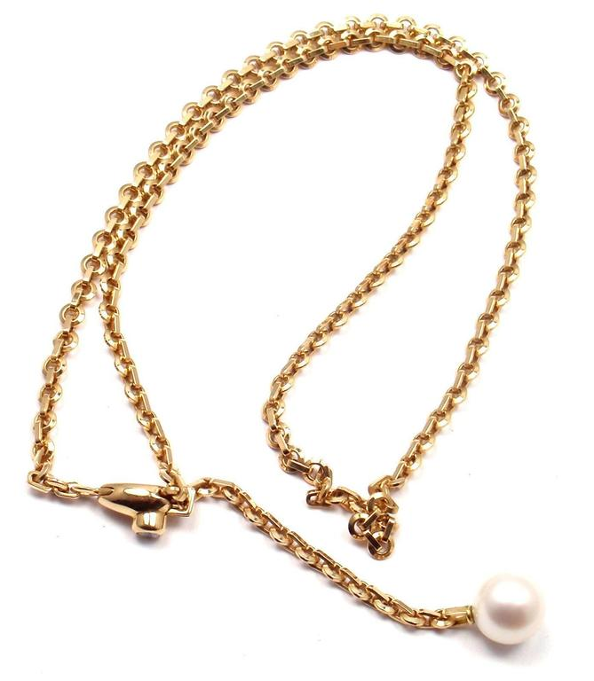 Cartier Diamond Pearl Lariat Link Yellow Gold Necklace 6