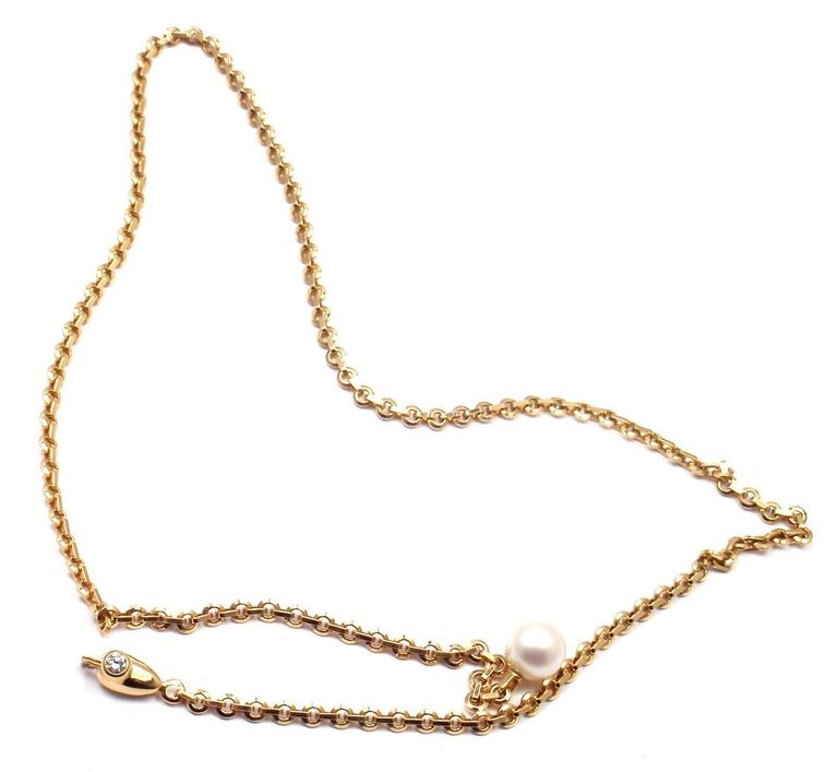 Cartier Diamond Pearl Lariat Link Yellow Gold Necklace 7