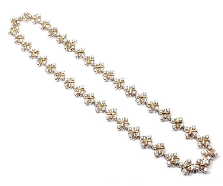 Women's or Men's Tiffany & Co. Lynn Diamond Yellow Gold Platinum Necklace For Sale