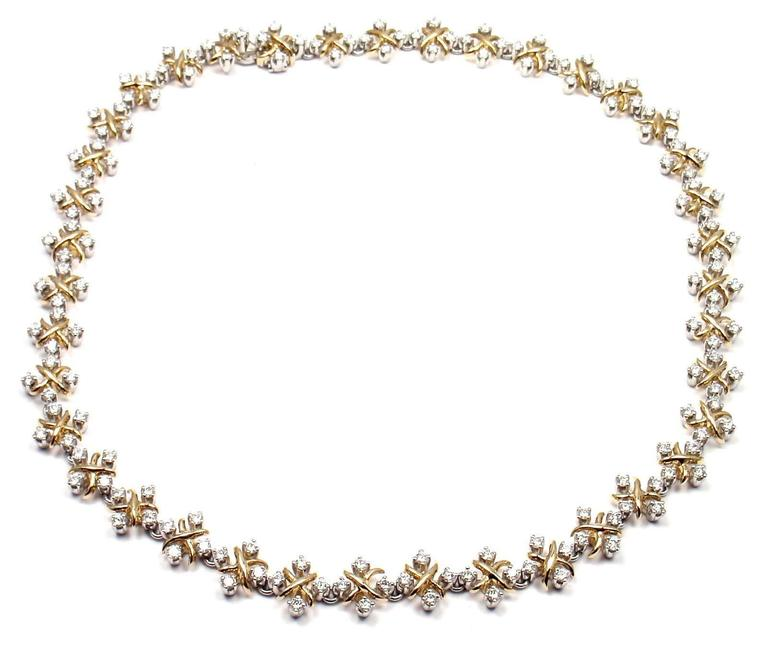 18k Yellow Gold & Platinum Diamond Lynn Necklace by Tiffany & Co.  With 156 round brilliant cut diamonds VS1 clarity G color  total weight approx. 5.29ct This necklace comes with Tiffany Co service paper.  Details:  Weight: 60.9 grams Width: