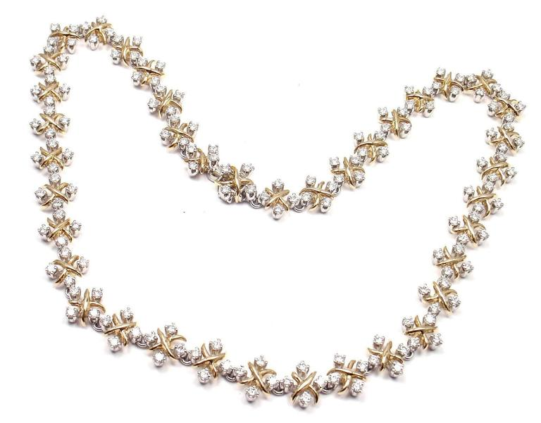 Tiffany & Co. Lynn Diamond Yellow Gold Platinum Necklace For Sale 5