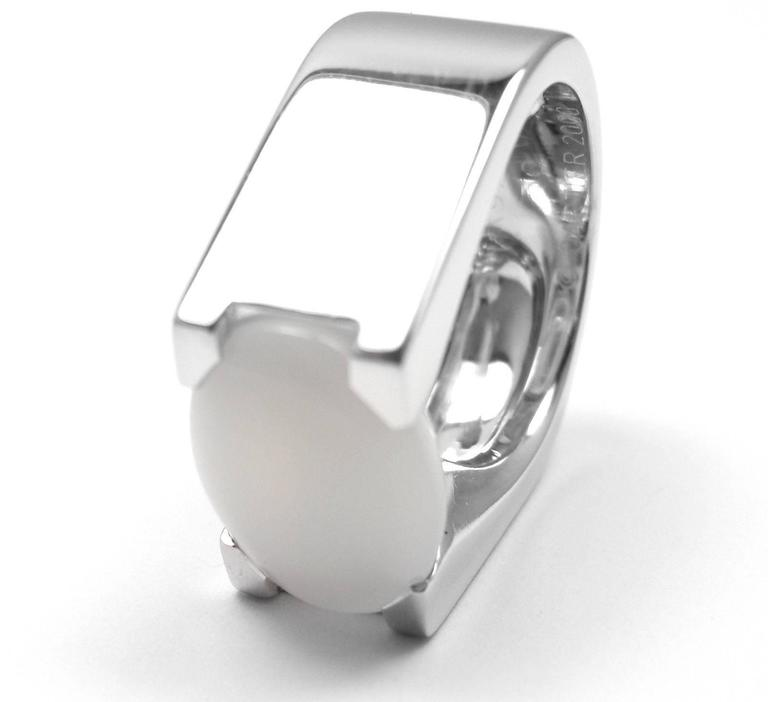 Cartier Moonstone Large White Gold Ring In As new Condition For Sale In Southampton, PA
