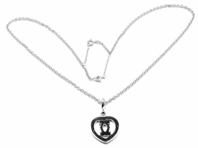 Cartier Diamond Heart Double C White Gold Pendant Necklace For Sale 1
