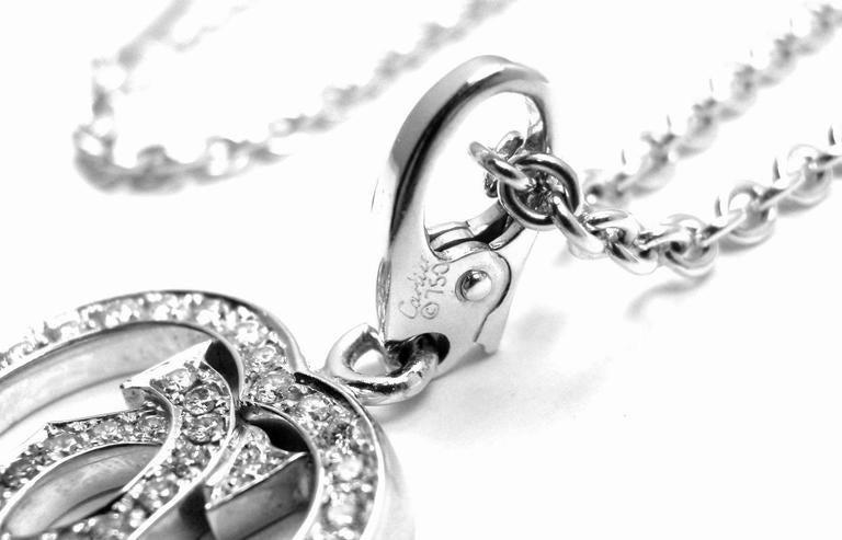 Cartier Diamond Heart Double C White Gold Pendant Necklace For Sale 4